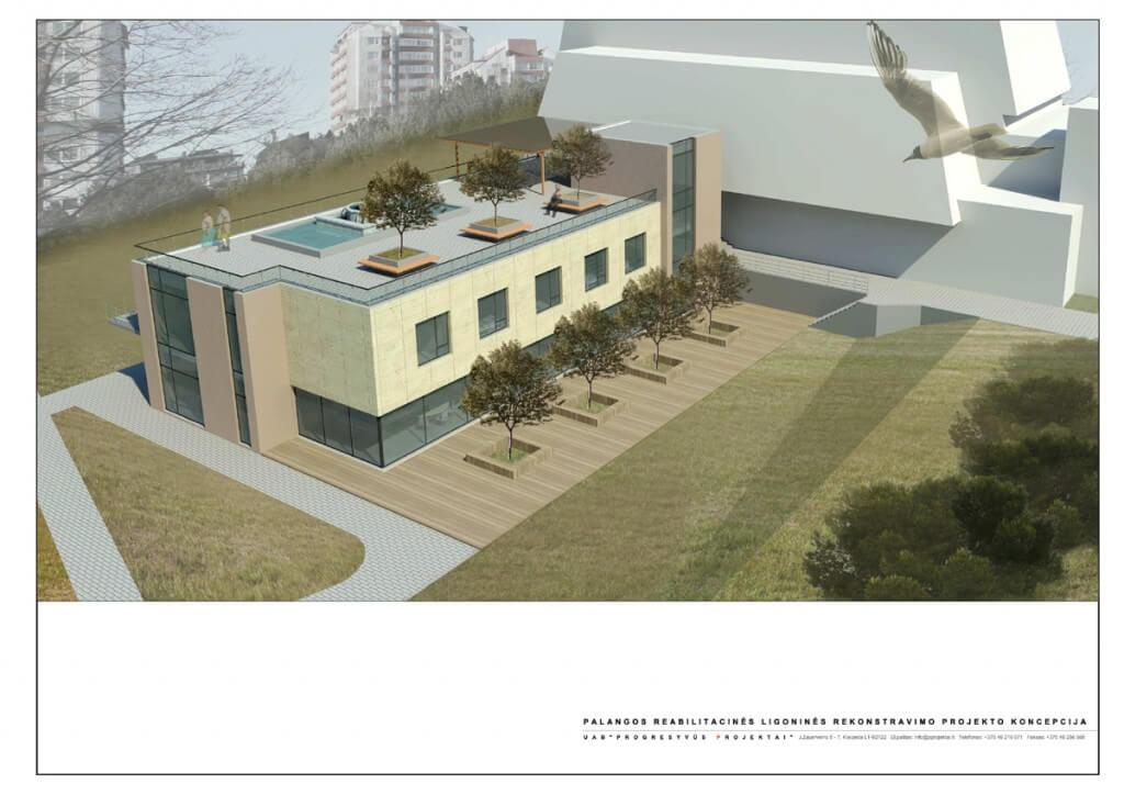 Palangos reabilitacijos ligoninės projektiniai pasiūlymai Vytauto g. 153, Palanga